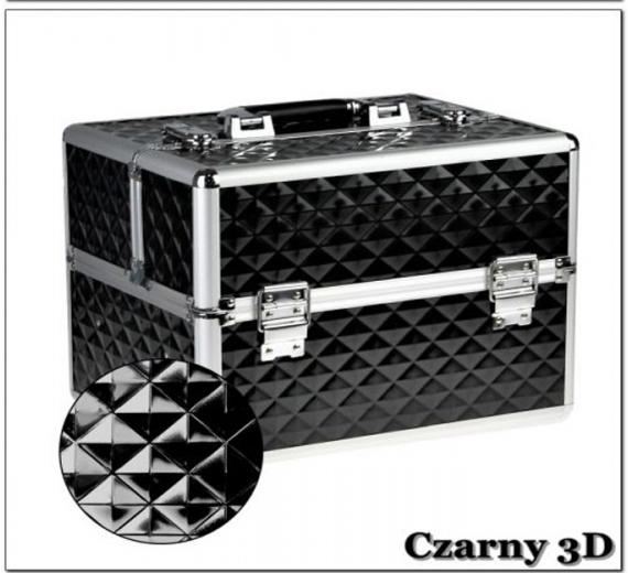 Kuferek kosmetyczny z kratownicą - Czarny 3d