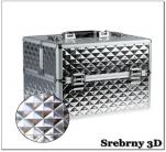Kuferek kosmetyczny z kratownicą - srebrny 3d