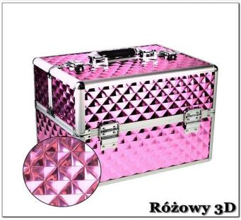 Kuferek kosmetyczny z kratownicą - różowy 3d