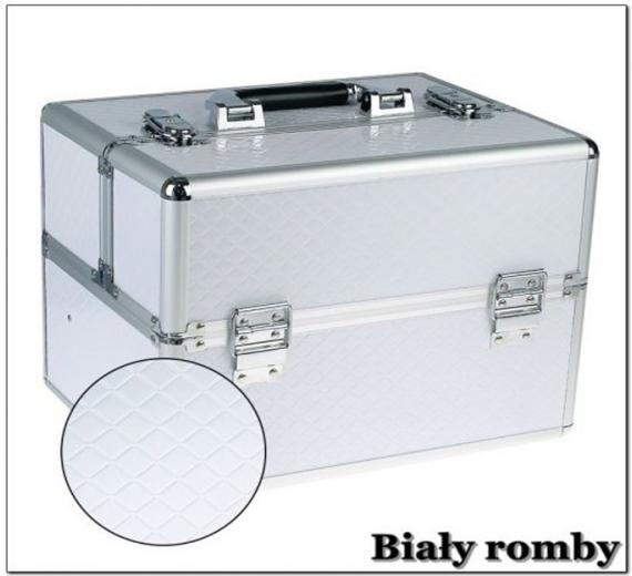 Kuferek kosmetyczny z kratownicą - Biały romby