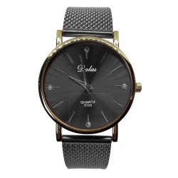 Zegarek dalas złota koperta czarna bransoleta