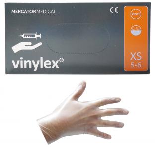 Rękawice Rękawiczki Winylowe XS Pudrowe 100szt.