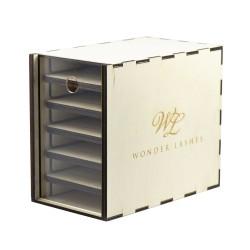 Wonder Lashes Lash Box mały drewniany do rzęs prezenter szkło