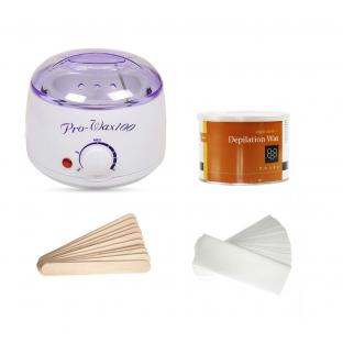 Zestaw depilacja podgrzewacz wosk puszka szpatułki