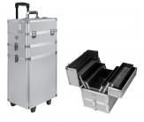 Kufer trolley na kółkach 3w1 na kosmetyki hybrydy srebrny