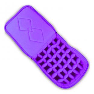 Kuferek na lakiery pikowany kufer kratownica etui fiolet
