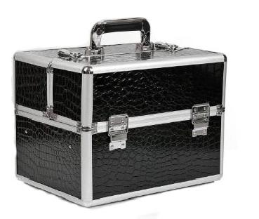 Kuferek kosmetyczny z kratownicą - czarny krokodyl