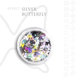 SILVER BUTTERFLY efekt ozdoby opal na paznokcie