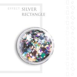 SILVER RECTANGLE efekt ozdoby opal na paznokcie