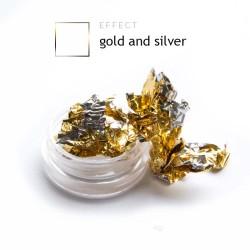 Dwustronna Folia pazłotko ozdoba na paznokcie gold and silver