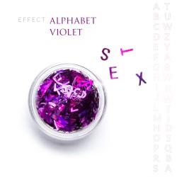 Alfabet literki efekt ozdoby na paznokcie Violet