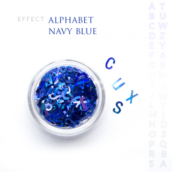 Alfabet literki efekt ozdoby na paznokcie Navy blue