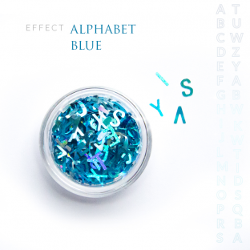 Alfabet literki efekt ozdoby na paznokcie Blue