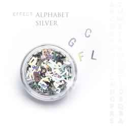 Alfabet literki efekt ozdoby na paznokcie Silver