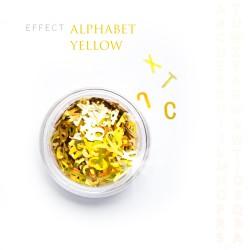 Alfabet literki efekt ozdoby na paznokcie Yellow