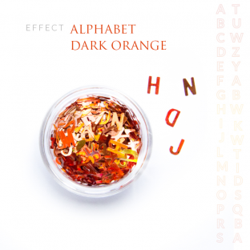 Alfabet literki efekt ozdoby na paznokcie Orange