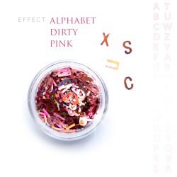 Alfabet literki efekt ozdoby na paznokcie Dirty Pink