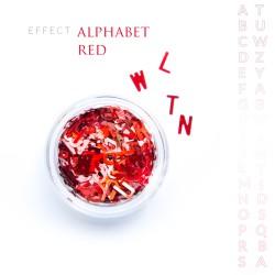 Alfabet literki efekt ozdoby na paznokcie Red