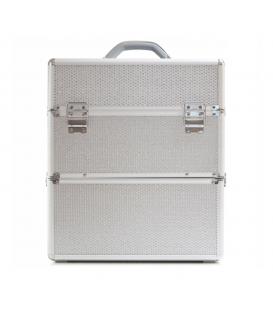 Kuferek kosmetyczny XXL Duży dwuczęściowy srebrny z cyrkoniami