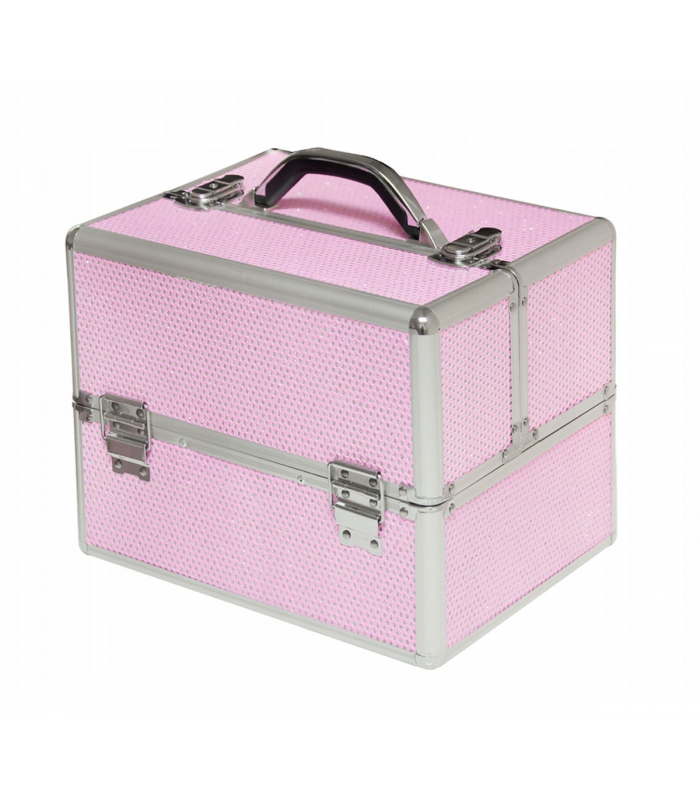 09b3fad39e842 Kuferek kufer walizka na kosmetyki z kratką na lakiery różowy z cyrkoniami