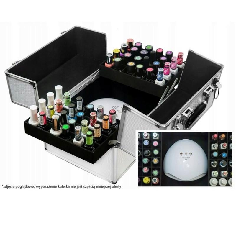 Kuferek kufer walizka na kosmetyki z kratką na lakiery srebrny z cyrkoniami