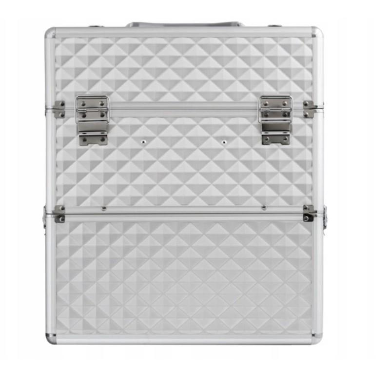 XXL Kuferek walizka na kosmetyki dwuczęściowy kratka na lakiery srebrny 3d