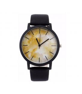 Zegarek damski męski pasek unisex żółty Marmur