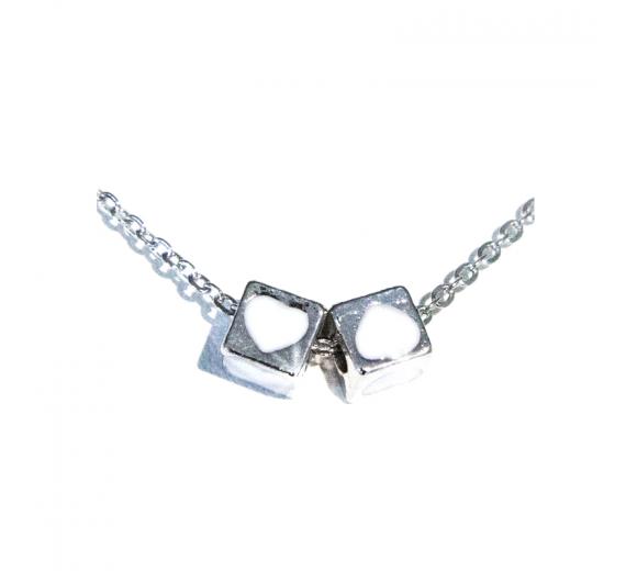 Łańcuszek naszyjnik celebrytka posrebrzany kostki S3
