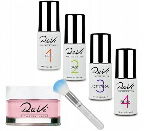 Revi zestaw do manicure tytanowego z pędzelkiem i ręcznikiem kosmetycznym