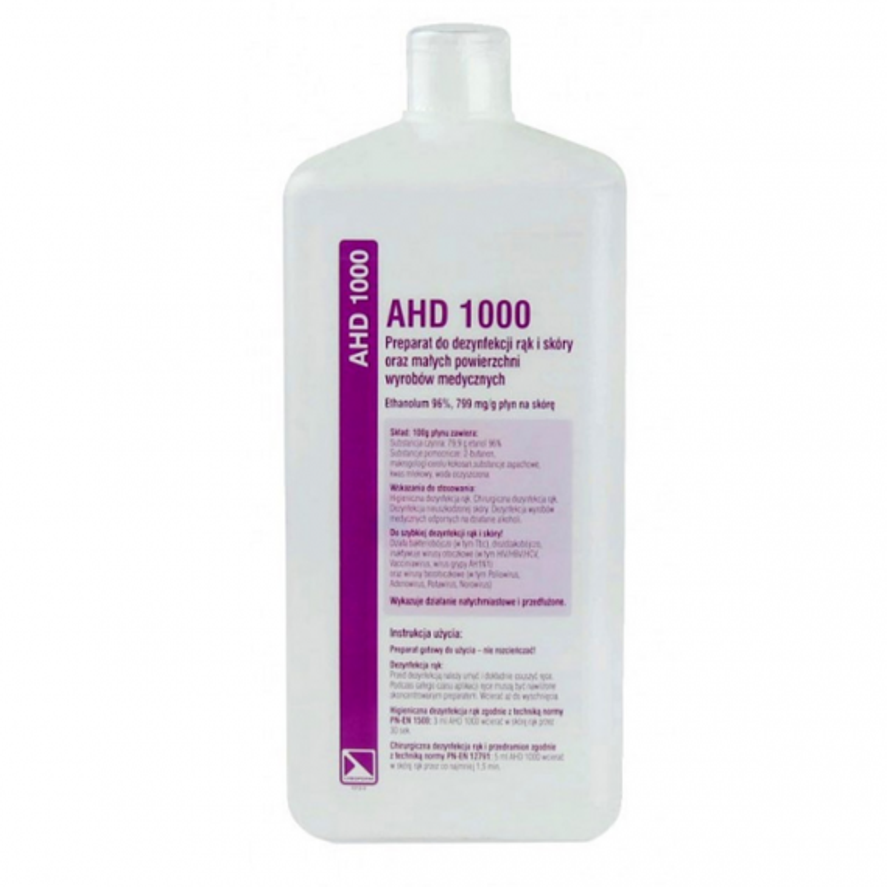 AHD 1000 dezynfekcja rąk skóry narzędzi med 1000ml
