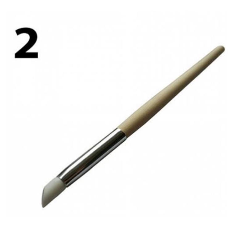Pędzelek silikonowy do zdobień past żeli drewniany nr 2