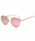 Okulary lustrzanki różowe lustra kocie oko cat eye złote oprawki