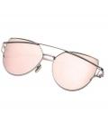 Okulary lustrzanki różowe lustra kocie oko cat eye srebrne oprawki