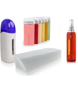 Zestaw do depilacji podgrzewacz 40w paski 6x wosk 100ml + olejek