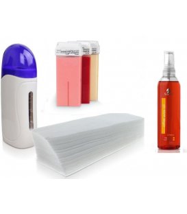 Zestaw do depilacji podgrzewacz paski 3x wosk 100ml + olejek