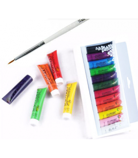 Farbki farby akrylowe 3d zdobienia paznokci + pędzel