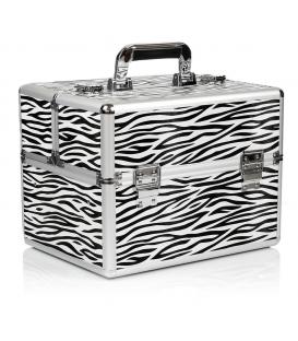 Kuferek kufer walizka na kosmetyki z kratką na lakiery zebra