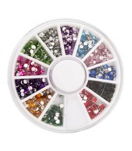 Karuzela mini ozdoby do paznokci cyrkonie kolorowe - 6cm