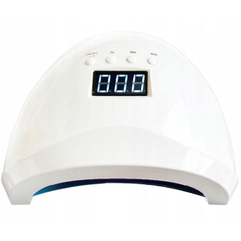 Lampa do manicure hybrydowego LED/UV 48W z sensorem ruchu i wyświetlaczem biała