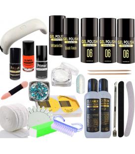 Zestaw manicure hybrydowy 5xlakier gel polish lampa 9w