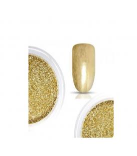 Efekt tafli złoty- mieniący się pyłek brokatowy