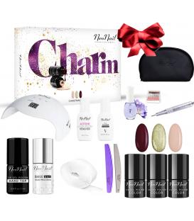 Neonail zestaw do manicure hybrydowego Charm Set z frezarką + kosmetyczka gratis