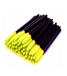Szczoteczka silikonowa do rzęs i brwi 50 sztuk żółte