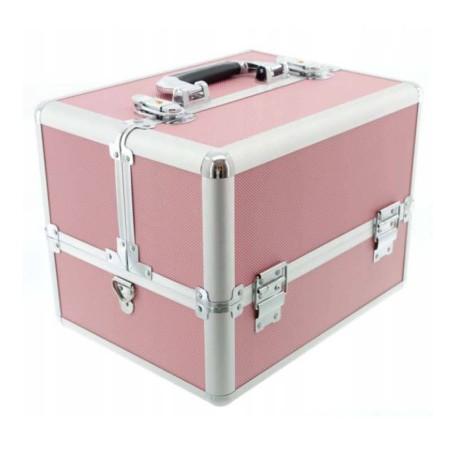 Kuferek kosmetyczny na lakiery lampę akcesoria różowy