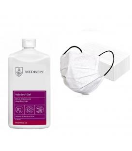 Velodes gel żel do dezynfekcji rąk 500ml + 10 maseczek